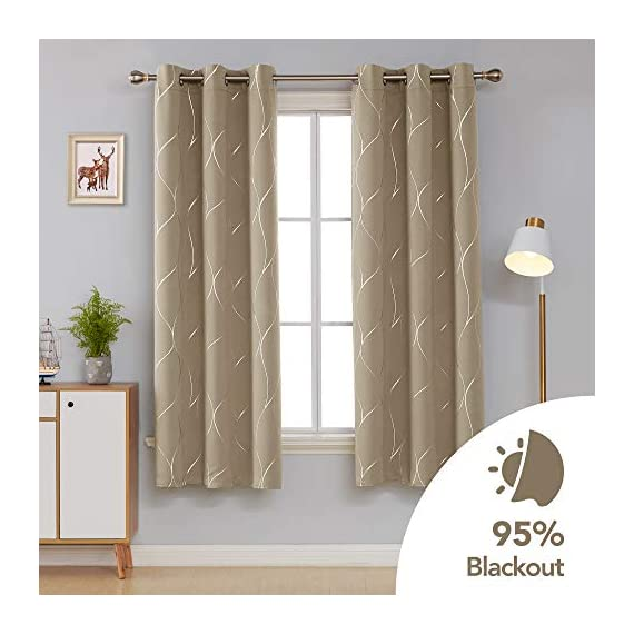 Deconovo Silver Wave Foil Printed Blackout Curtains Room Darkening Grommet Curtain Thermal Insulated Window Drapes for Boys' Room 42W x 72L Inch Set of 2 Panels Khaki - Deconovo decorative blackout curtains are made of 100 percent high quality polyester fabric. Fashioned with a solid color, these curtains are finished with foil printed wave lines on the front face to make it graceful. Our room darkening blockout curtains obstruct all sources of light from entering any room through the window, at any time of the day. These curtain panels can also offer high privacy protection. As thermal insulated curtains, these panels aid in saving on energy cost on heating and cooling a room. They can reduce heat loss and penetration into any room. These curtains are noise reducing, perfect for those in noisy neighborhoods. - living-room-soft-furnishings, living-room, draperies-curtains-shades - 41TSGUlWdCL. SS570  -