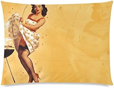 Pinup Pin Up Girl Beach Printed Cushion Covers Pillow Cases Home Decor or Inner