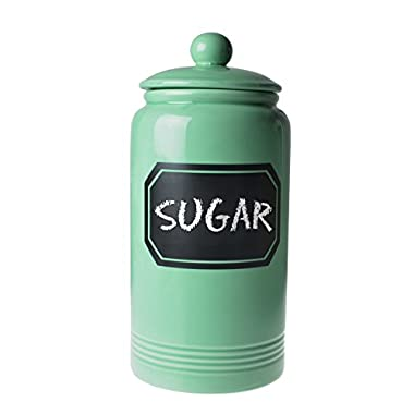 12  Large Turquoise Glossy Ceramic Cookie Jar Kitchen Canister w/ Vintage Style Black Chalk Board Label
