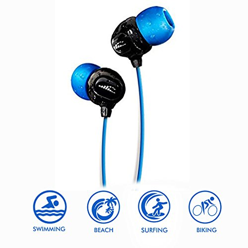 (H2O Audio 100% Waterproof Headphones. Noise Canceling, Sweat Proof Surge+ Swim Headphones Perfect for Swimming & All Watersports, 'Black/Blue')