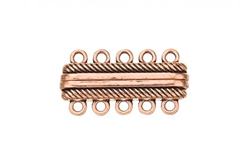 (2Pcs 6-Strand Magnetic Multi-Strand Clasp Antique Copper Plated 28x14mm)