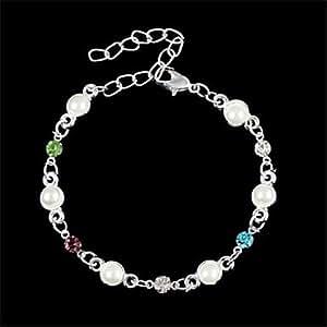 Alta calidad de 6 mm Cuatro Colores Perla Metal Diamond - Studded pulsera