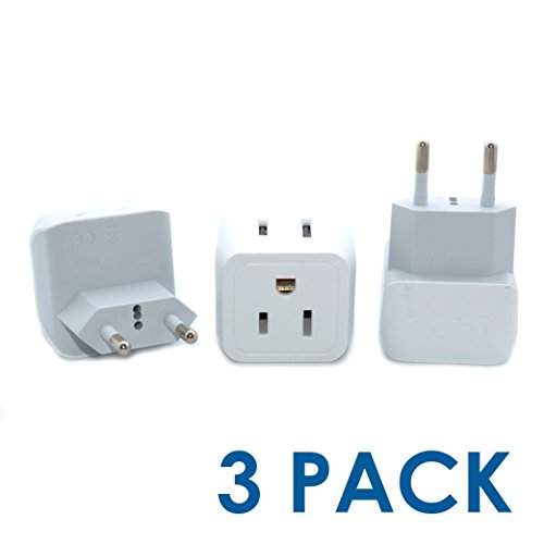 Ceptics CT-9C USA to Most of Europe Travel Adapter Plug - Type C (3 Pack) - Dual Inputs - Ultra Compact (Does Not Convert - Ct Outlets In