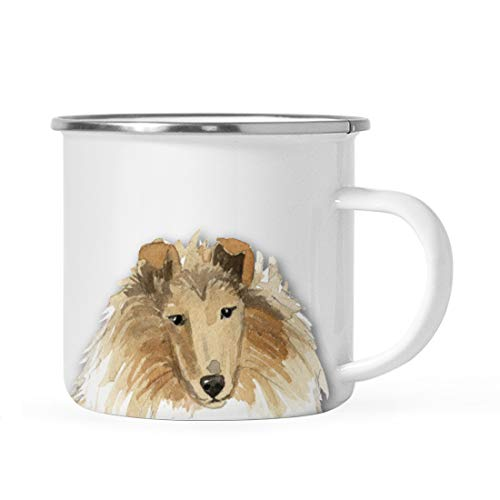 (Andaz Press 11oz. Stainless Steel Dog Campfire Coffee Mug Gift, Rough Collie Up Close, 1-Pack, Pet Animal Camp Camping Enamel Cup Modern Birthday Gift Ideas for Him Her Family)