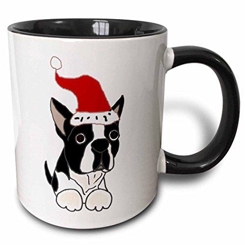- 3dRose 220479_4 Funny Christmas Boston Terrier Dog in Santa Hat Ceramic Mug, 11 oz, Black/White