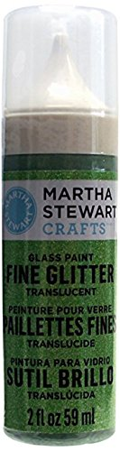 Martha Stewart Crafts Fine Glitter Translucent Glass Paint in Assorted Colors (2-Ounce), 33128 Cotton Candy