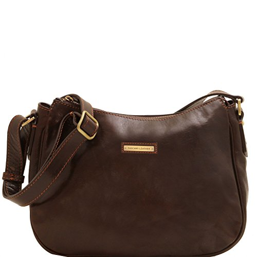Tuscany Leather Cristina Leather shoulder bag Dark Brown by Tuscany Leather