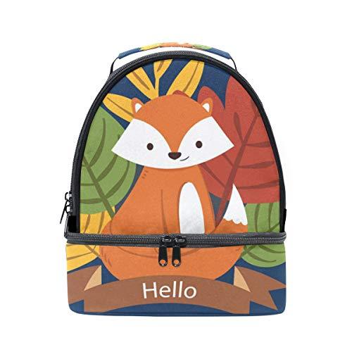 Alinlo Cute Fox Boîte à lunch Sac isotherme Cooler Tote avec bandoulière réglable pour Pincnic à l'école
