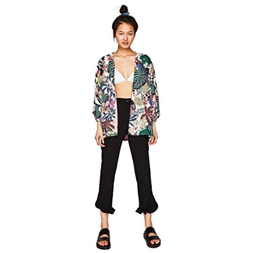 HANYI New Women Floral Chiffon Kimono Oversized with Fringe Shawls Wraps (Multicolor, L)