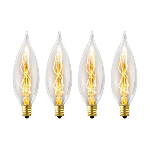 Flame Tip Light Bulb (Globe Electric 25W Vintage Edison CA10 Flame Tip Incandescent Filament Light Bulb, 4-Pack, E12 Base, 01327)