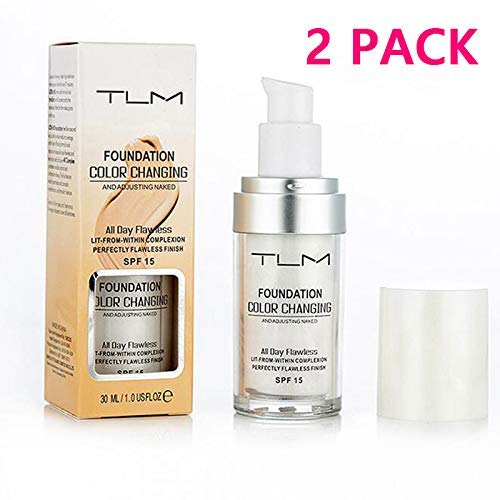 2 Pcs,TLM Flawless Colour Changing Warm Skin Tone Foundation Makeup Base Nude Face Moisturizing Liquid Cover Concealer Foundation Cream,Long Lasting Liquid Foundation For Women Girls