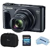 Canon PowerShot SX730 HS Digital Point & Shoot Camera, Black - Bundle With 16GB SDHC Card, Camera Case, Microfiber Cloth