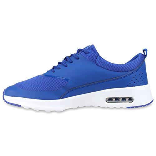 Stiefelparadies Damen Sportschuhe Runners Sneakers Laufschuhe Fitness Trendfarben Sportliche Schnürer Flandell Blau