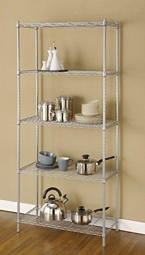 Artiva USA 5 Shelf Wire Shelving Rack, 68'', Silver/Gray