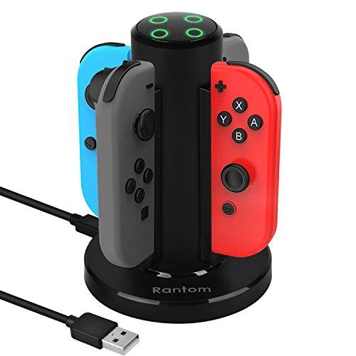 Rantom 닌텐도 스위치 Nintendo Switch Joy-Con충전 스탠드 지능단 전모드 부착 닌텐도 스위치 Joy-Con충전 그립 죠이 콘 급속 충전 홀더 4대동시에 충전 가능 충전 지시 램프 USB케이블 부착(1년간의 보증이 붙어 있음)(블랙)