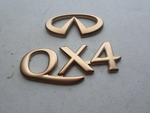 98-00 Infiniti QX4 Rear Trunk Gold Painted Emblem 90891-1W310 Logo 90894-1W311 Nameplate Decal Ornament Set (Infiniti Emblem Gold compare prices)