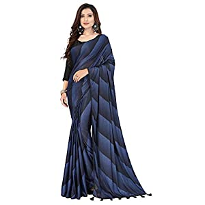 Pratham Blue Women's Imported Silk Fancy Saree (Black)