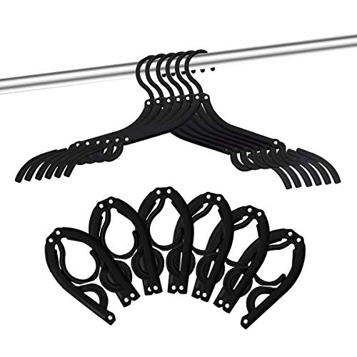 12 PCS Travel Hangers - Portable Folding Clothes Hangers Travel Accessories Foldable Clothes Drying Rack for Travel (Black) (Best Gifts For Cruise Travelers)