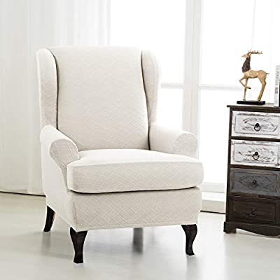 Brilliant Chun Yi 2 Piece Rhombus Jacquard Wing Chair Cover Universal Wing Back Wingback Armchair Covers Chair With Arms Slipcovers Furniture Protector Wing Uwap Interior Chair Design Uwaporg