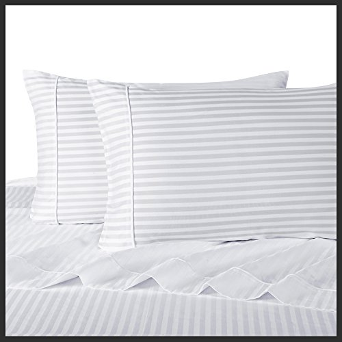 Royal Hotel's Striped White 300-Thread-Count 4pc Full Bed Sheet Set 100-Percent Cotton, Sateen Striped, Deep Pocket, 100% Cotton by Royal Hotel (Image #2)