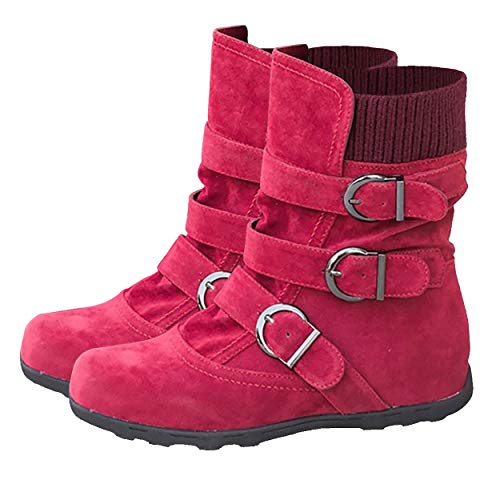 (Susanny Ankle Boots for Women Warm Winter Zip Suede Booties Buckle Strappy Shoes Round Toe Red 8 B (M) US)