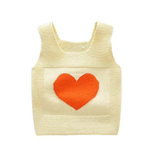 Rexury Toddlers Sweater Vest Little Girls Cable Knit Love Heart Tank Top Pullover Sweater Vest Apricot ()