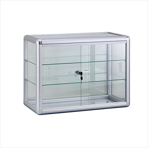 (SC-KD) ROXYDISPLAY™ COUNTER TOP GLASS CASE, Standard aluminum framing,with sliding glass door and lock (KDTOP-SC) - Glass Display Showcase