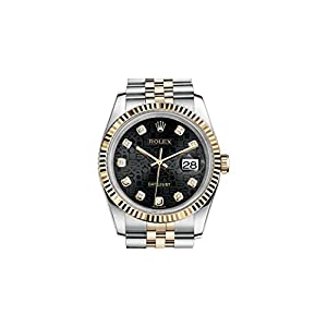 Rolex Oyster Perpetual Datejust 36 Black Set with Diamonds Dial Stainless Steel and 18K Yellow Gold Rolex Jubilee Automatic Mens Watch 116233BKJDJ