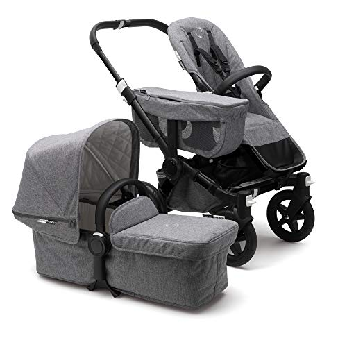 Bugaboo Donkey2 Classic Collection Complete Mono Stroller, Black/Grey Mélange - The Most Spacious Foldable Stroller with The Option to Expand to a Double Stroller