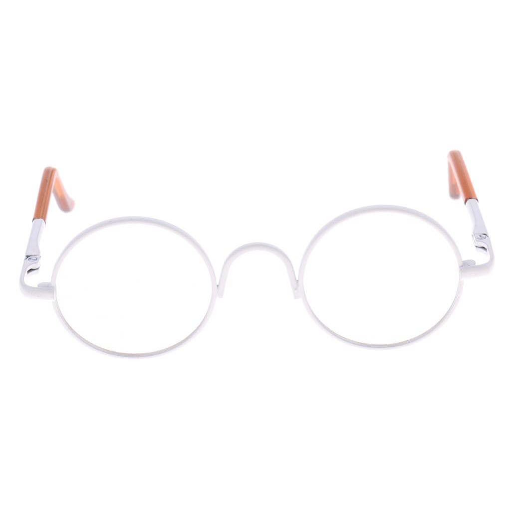 739366faf5 Amazon.com  MagiDeal Retro Copper Round Frame Glasses Eyewear for 1 6 BJD  MSD DOD Blythe 9cm Salon Doll EXO Dolls Clothes Accessory Clear  Toys    Games