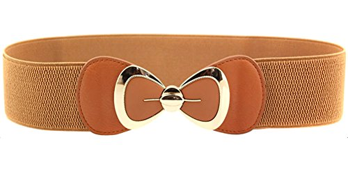 SportsWell Women's Elegant Bowknot Stretch Wide Belt Dress Decorative Waistband Camel,One Size (3x Belts For Women compare prices)