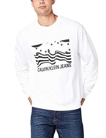 Calvin Klein Jeans Men's Institutional Flag Box Sweatshirt, White, XS
