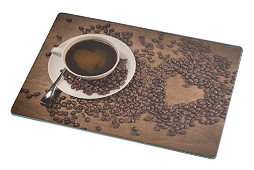 Rikki Knight RK-LGCB-1974 Heart Shape from Coffee Beans on Wood Glass Cutting Board, Large, White (Glass Coffee Board Cutting)
