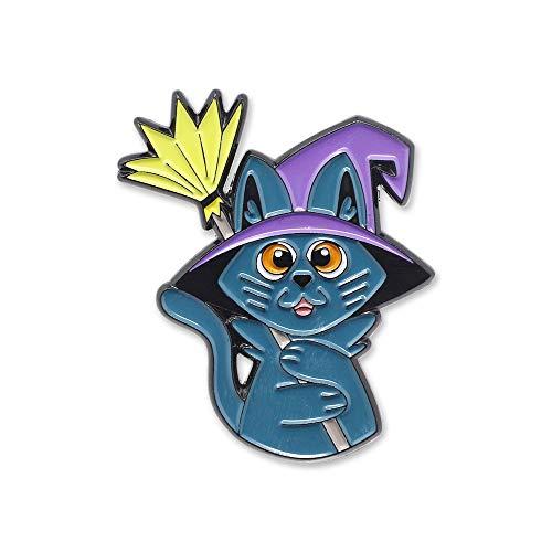 Halloween Stick Pins - WIZARDPINS Cute Kitty Cat Witch Hat Kitten Broomstick Halloween Enamel Pin– 1 Pin