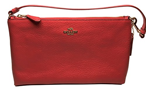Coach Pebbled Leather Large Wristlet 25 True Red F12185