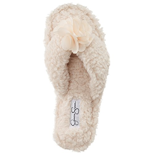Jessica Simpson Plush Cozy Faux Shearling Thong Slide On Womens Slippers with Flowers (Size Medium, Ivory)
