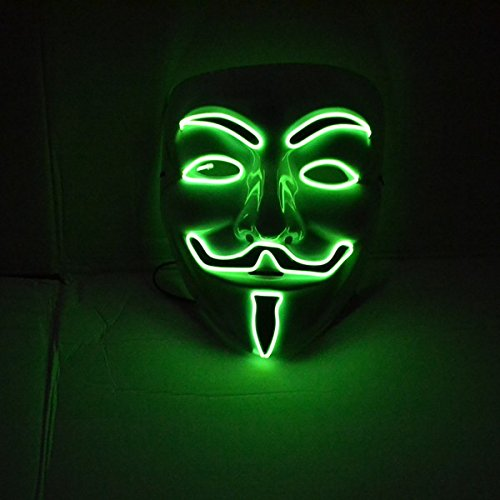 El Wire Rave LED Mask Light up Guy Fawkes Anonymous V for Vendetta Mask
