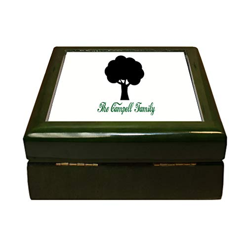 Style In Print Personalized Custom Text Silhouette of Tree Wood Organizer Jewelry Box 4