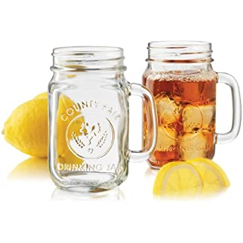 libbey country fair 4piece drinking jar with handle 165ounce clear - Mason Jar Drinking Glasses