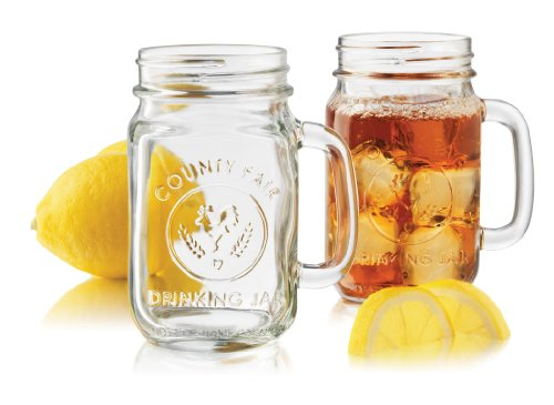 Libbey Country Fair 4-Piece Drinking Jar with Handle, 16....