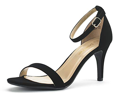 (DREAM PAIRS Women's Jenner Black Nubuck Stilettos Open Toe Pumps Low Heeled Sandals Size 8.5 US)