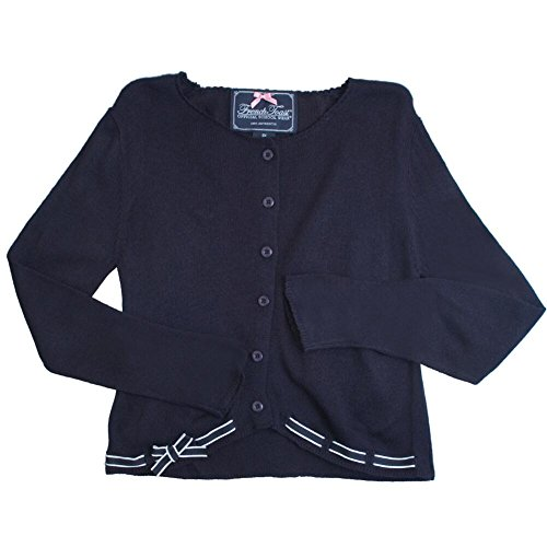 French Toast Little Girls' Sweater with Ribbon Trim, Navy, -