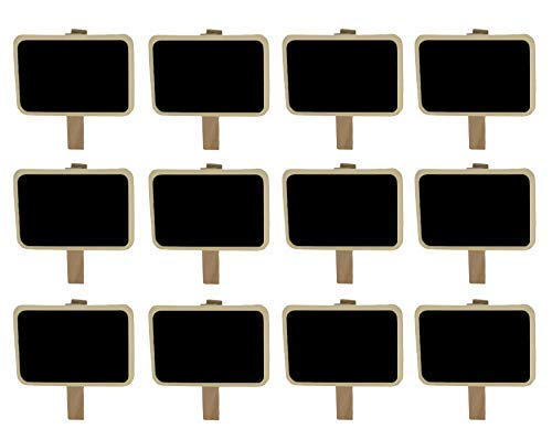 - Miraclekoo 12 Mini Retangle Chalkboard Blackboard with Wooden Clip Message Board Signs and Labels Clips