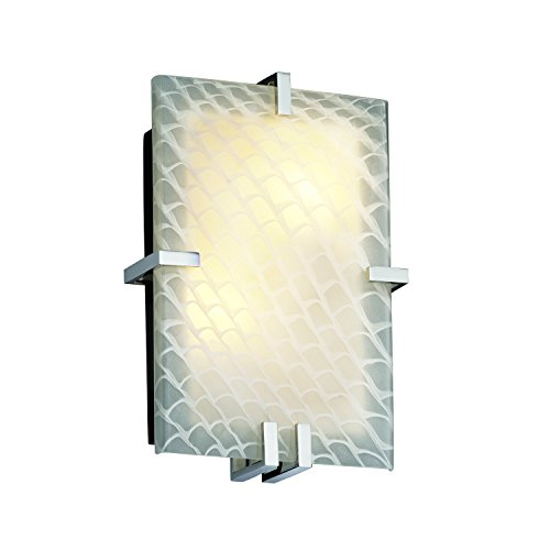 Design Group Justice Clips (Justice Design Group - Fusion Collection - Clips Rectangle Wall Sconce (ADA) - Polished Chrome Finish with Weave Glass, Fluorescent)