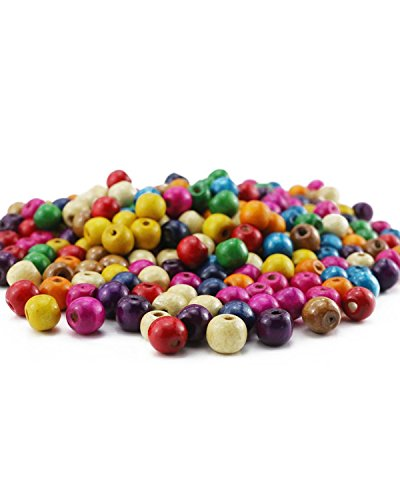 BcPowr 250 PCS Assorted Color Round Wood Beads,Large Hole Round Wood Spacer Beads for DIY Project, Wooden Spacer Beads ()