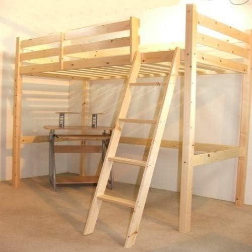 Loft litera con Escritorio – 3 ft Single Madera Alta Sleeper Bunkbed – Escalera Puede IR a Izquierda o Derecha – Puede ser Utilizado por Adultos: Amazon.es: Hogar