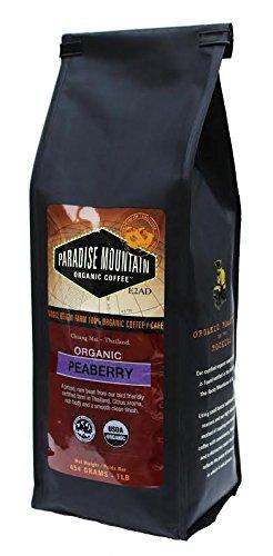 Paradise Mountain, Rare Thailand Peaberry, USDA Certified Organic, Direct Trade, Whole Bean Coffee 16oz