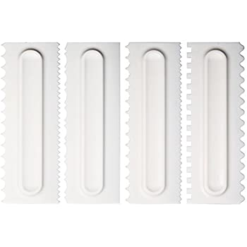 Kayaso Decorating Comb and Icing Smoother, 4 Pcs Cake Scraper Set.