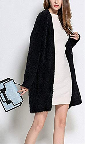 Casual Manica Cappotto Vintage Cappotto Confortevole Outerwear Giovane Lunga A Cardigan Schwarz A Maglia Monocromo Invernali Fit Giacca Lunga Donna Moda Maglia Elegante Slim Autunno TYwYX