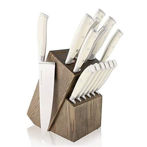White Knife Set with Block and Sharpener Tool, 14 Piece Knife Set with Block, Stainless Steel Knives Set – Including Heavy Duty Butcher Shears – White Knife Set, Modern Butcher Block Knife Sets